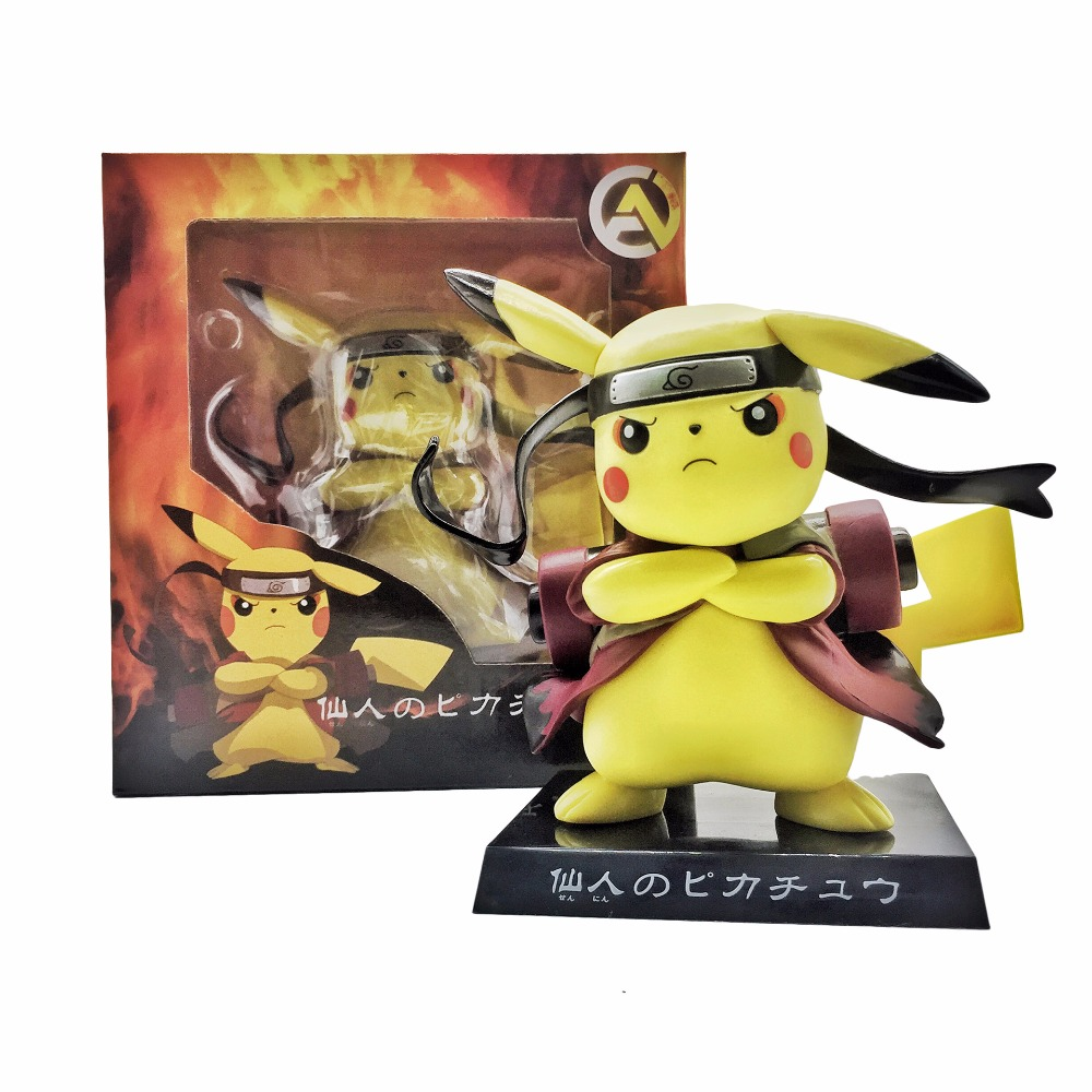 Naruto Action Figures Pikachu Sennin Modo PVC 150mm Collectible Model Toy Anime Naruto Shippuden Pikachu Cosplay Toys