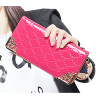 Zipper Purse Leather Women Wallet Jacquard Printed Leather Wallet Fashion Women Purse Long Money Clip Carteira