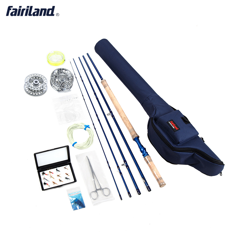 купить Portable Fly Fishing combo 6/7, 7/8, 8/9 5 sections fly rod, fly reel line Lures Set blue case fly set rod bag fishing kit онлайн