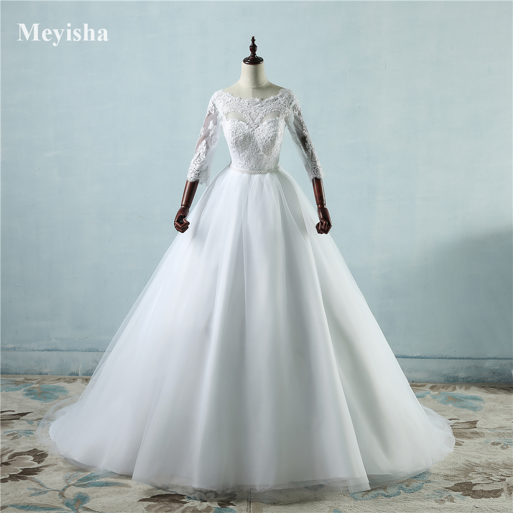 ZJ9091 lace White Ivory Lace Wedding Dresses for bride gown 2019 with sleeve big train plus