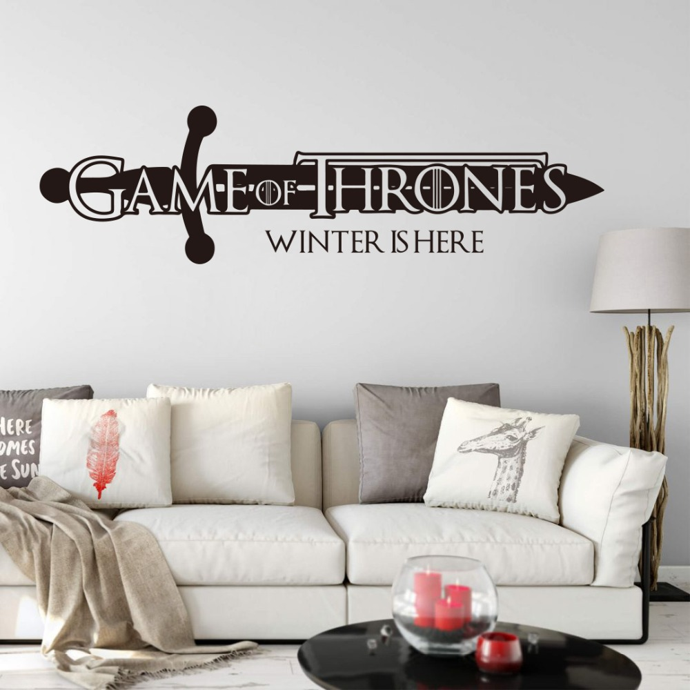 Large Winter is here Quote Wall Decal Boy Room Car Laptop Movie Film Wall Sticker Vinyl Decor (1)
