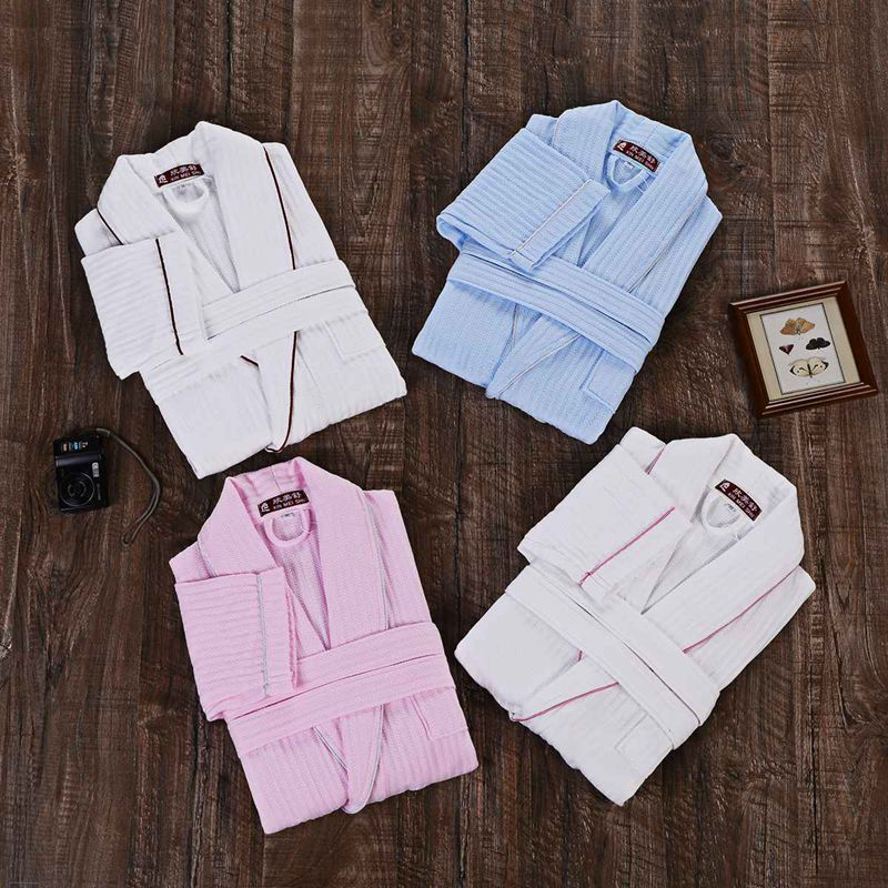 Men Bathrobe Cotton  Men Bath Robe Gown Brand Pajamas Cotton Terry Toweling Long Soft White Blue Spring Summer Autumn