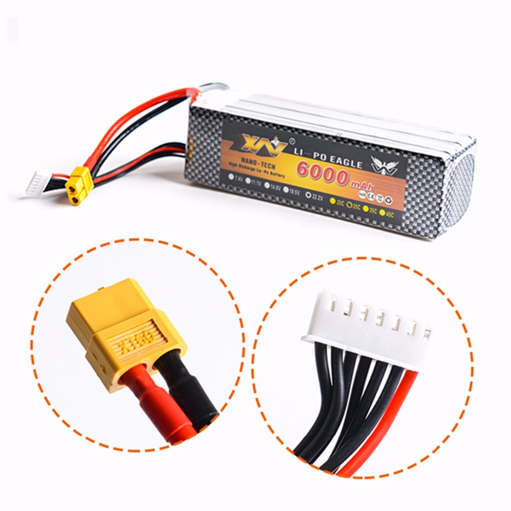 22.2V <font><b>6000Mah</b></font> <font><b>Lipo</b></font> Lithium Battery EC5 or T or XT60 plug For RC Helicopter Qudcopter Drone Car Boat Bateria image