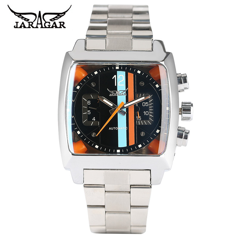 JARAGAR Mens Watches Top Brand Luxury Automatic Mechanical Watch Modern Business Colorful Square Unique Men Clock 2017 New Style mce top brand mens watches automatic men watch luxury stainless steel wristwatches male clock montre with box 335