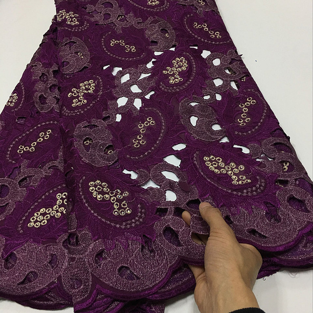 Luxury African Fashion Wine Handcut Organza Lace African Swiss Lace Voile Fabric With Stones High Quality For Party PSA109-1633