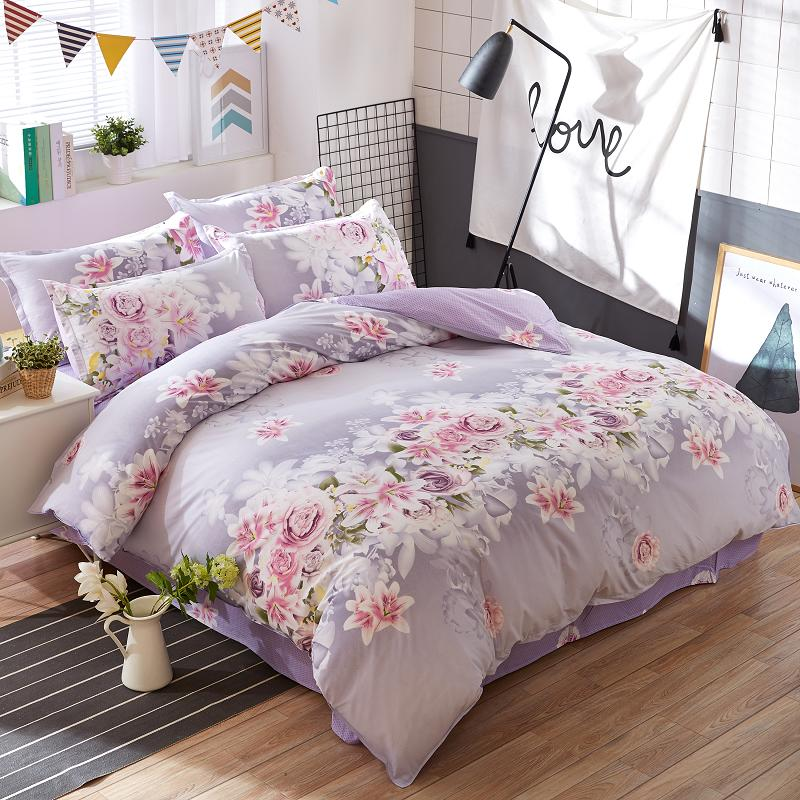 Purple Rose Flowers Printed Bedding Set Pastoral Bed Set for Women 3/4pcs Twin Full Queen King Duvet Cover Flat Sheet Pillowcase