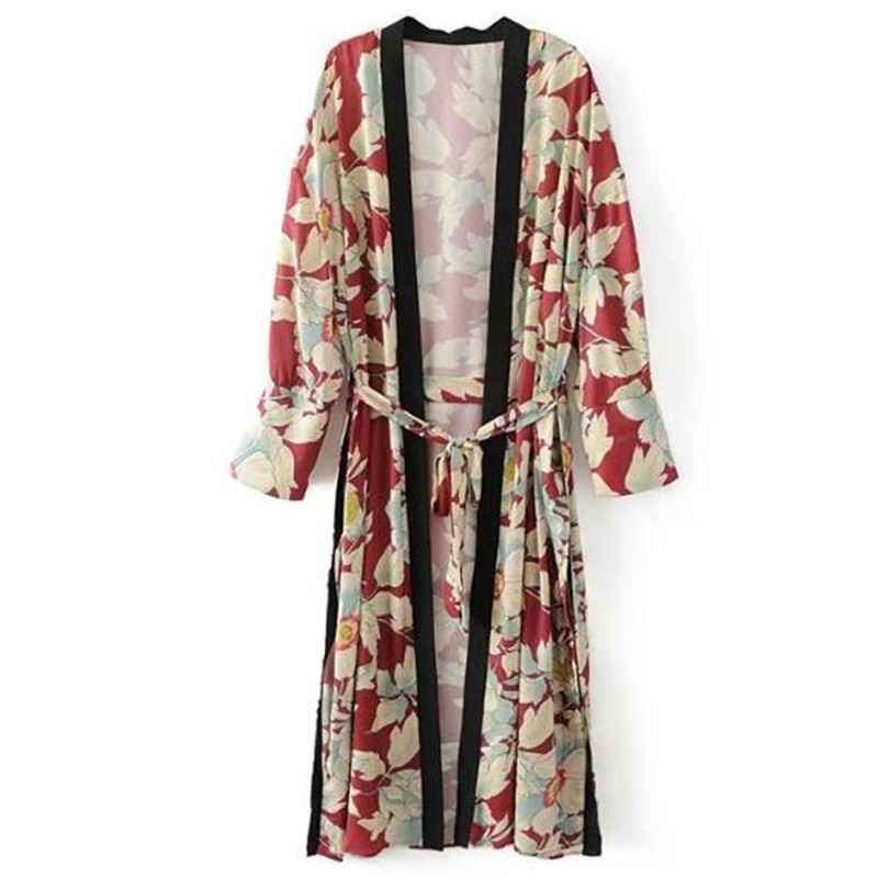 Nice 2017 Leaves Flower Print With Sashes Kimono Shirt Retro New Bandage Mid Long Cardigan Blouse Tops Blusas Chemise Femme Blusa Blouses & Shirts