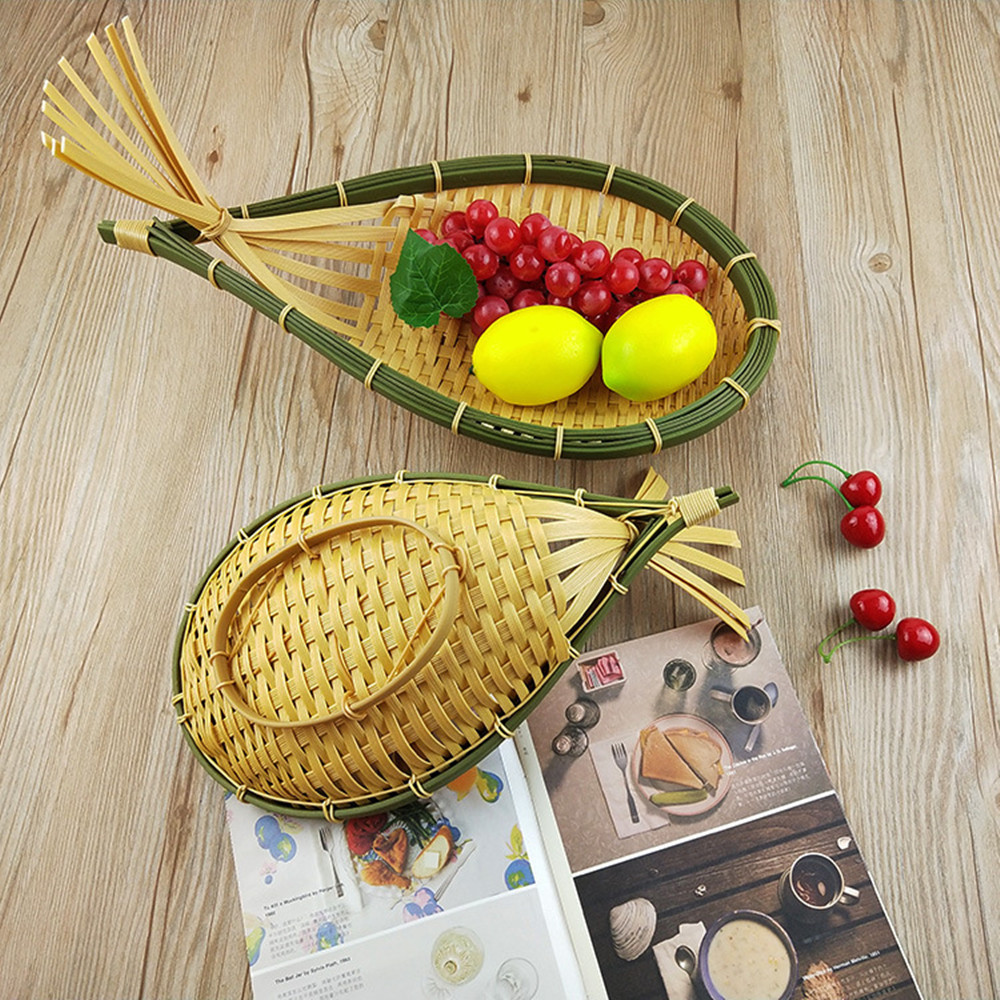 PP Bamboo Woven Storage Basket Supermarket Display Bread Fruit Flower Pot Kitchen Hand-woven 2 PCS
