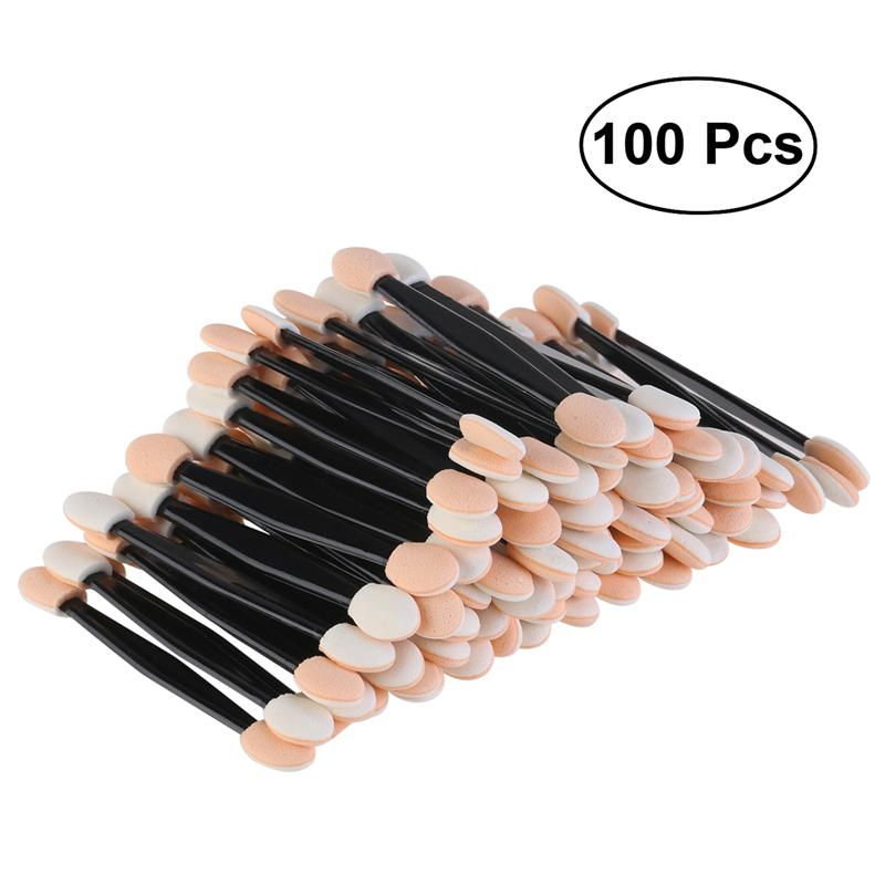 RUIMIO 100 stücke Einweg Dual Seitige Lidschatten Pinsel Schwamm Gekippt Oval Make-Up Applikator