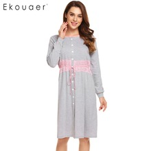 Ekouaer Nữ Vintage Đầm Ngủ Nữ Bộ Đồ Ngủ Dài Tay Phối Ren Miếng Dán Cường Lực Nút Xuống Sleepshirt Váy Ngủ Ngủ Phòng Chờ Đầm