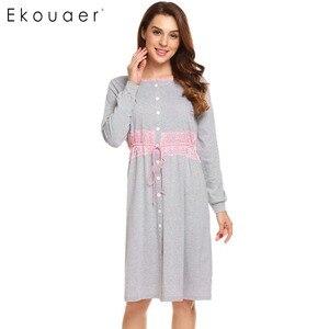 Image 1 - Ekouaer Women Vintage Sleep Dress Women Sleepwear Long Sleeve Lace Patchwork Button Down Sleepshirt Nightgown Sleep Lounge Dress