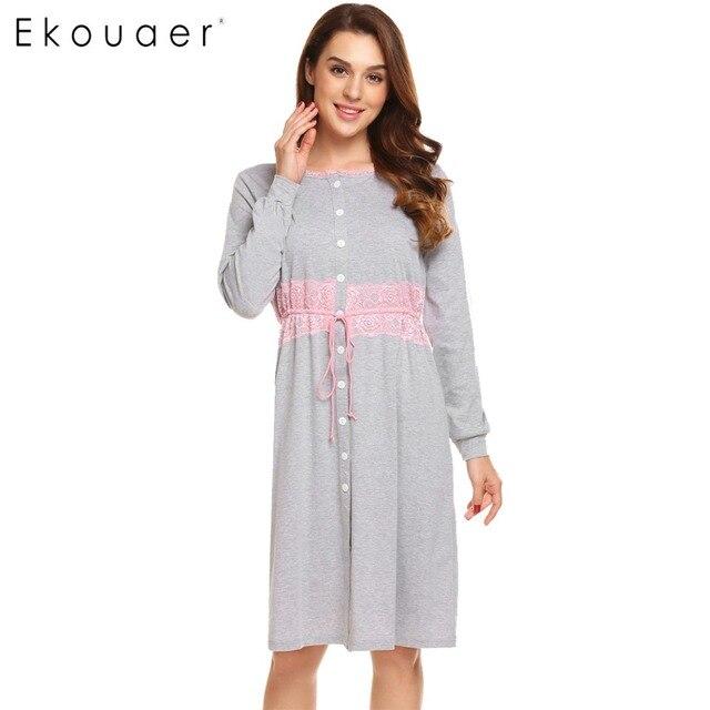 Ekouaer Women Vintage Sleep Dress Women Sleepwear Long Sleeve Lace Patchwork Button Down Sleepshirt Nightgown Sleep Lounge Dress