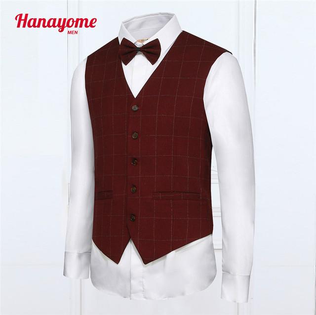 Terno dos homens de Colete Vermelho 2016 Nova Chegada Xadrez Negócio Colete Casuais Slim Fit Vest Colete Masculino Sociais Tamanho XS-3XL