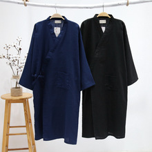 Hidden Plaid Long Sleeve Thin Cotton Gauze Traditional Japanese Kimono Robes for Men Traditonal Japanese Sleepwear Men's Yukata