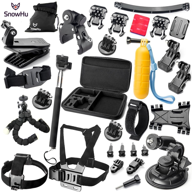 SnowHu pour Gopro accessoires monopode trépied flotteur Bobber poitrine ceinture ensemble pour Go pro Hero 6 5 4 3 + 2 1 SJ4000 Xiaomi yi caméra GS16