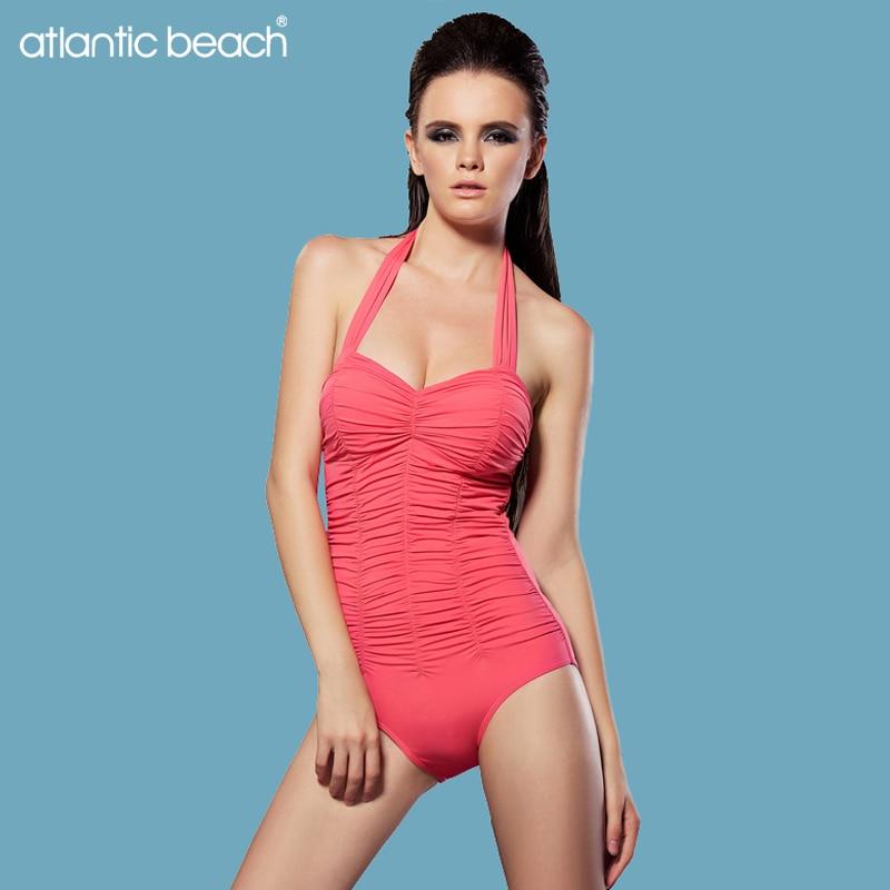 Atlanticbeach bathing suit one piece solid Halter women swimwear swimsuit push up plus size swimsuits maillot de bain monokini hot women one piece swimwear women push up monokini maillot de bain bathing suit swimsuit plus size shorts bikinis beachwear