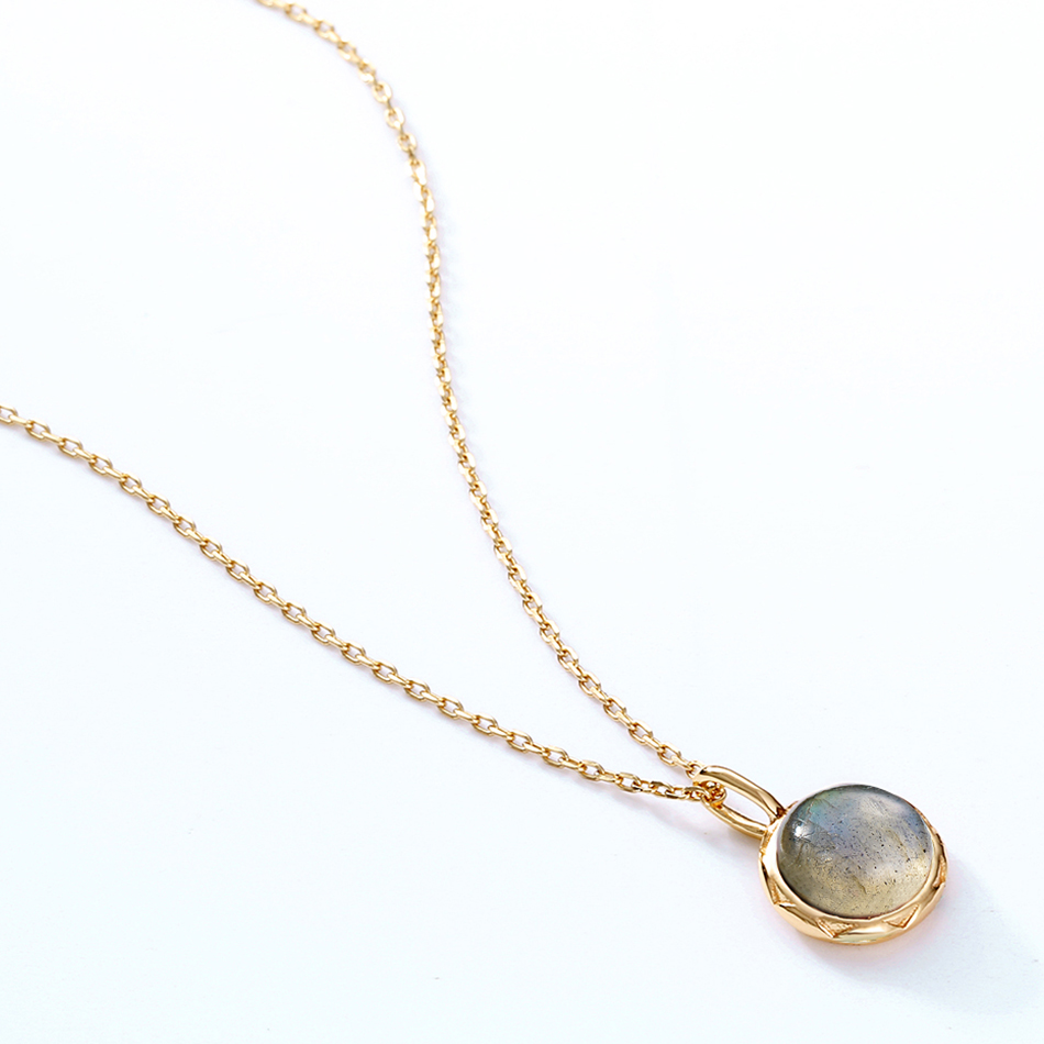 ALLNOEL Real Labradorite Pendants Necklace For Women Solid 925 Sterling Silver Round Gemstone Jewerly Engagement Wedding New (3)