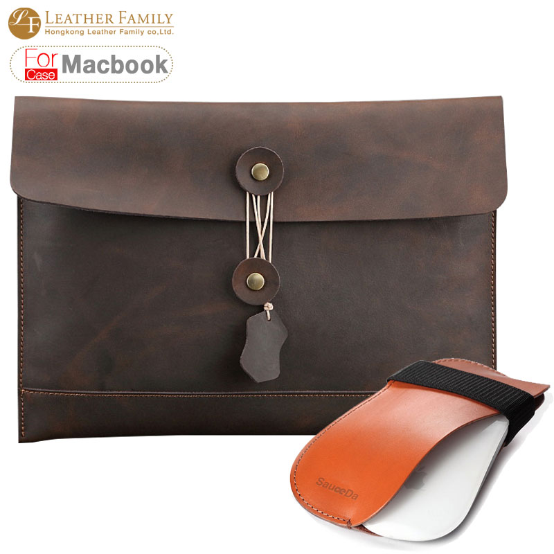 For macbook pro 13 case Genuine Leather Luxury retro Laptop Bag for macbook air 11.6 13.3 retina pro 15.4inch with mouse pouch pokoko brand notebook laptop sleeve bag case for apple macbook air 13 pro 13 3 inch retina portable handbag laptop bag