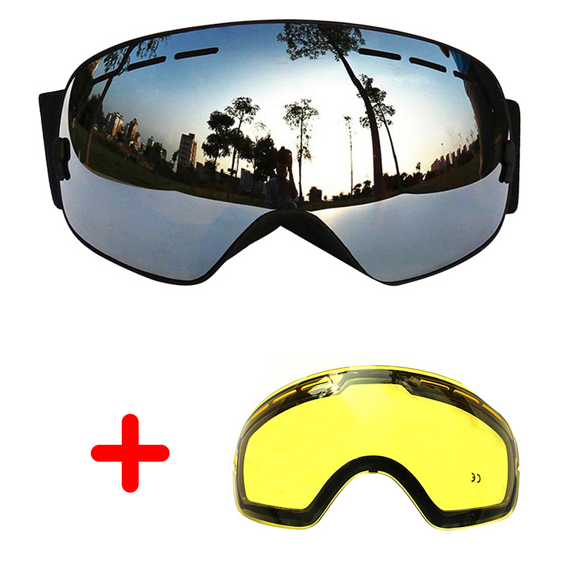 COPOZZ Ski Goggles UV400 Double Lens Anti fog Sun Glasses Skiing Snowboard Large Goggles Winter Spherical Mask+Lens