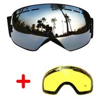 COPOZZ Ski Goggles UV400 Double Lens Anti fog Sun Glasses Skiing Snowboard Large Goggles Winter Spherical Mask+Lens