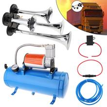 Super Loud  4 Trumpet Air Horn 150psi 12V 6L Mini Electric Compressor Kit Blue Tank Gauge for Car Train Truck Vehicles