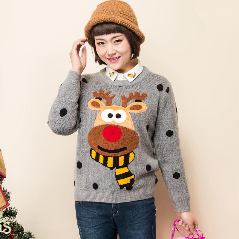 HTB1BjZkafnW1eJjSZFqq6y8sVXau - Ugly Christmas Deer Sweater Women Winter 2017 Cotton O Neck Gray Jumper Knitted Pullover Sweater PTC 288