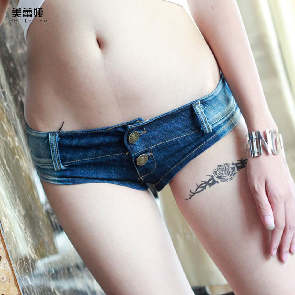 MEILEIYA Brand New Summer Womens Sexy Super Short Denim Mini Shorts Sexy Low Rise Crotch Thong Jeans Skinny Jeans Free shipping