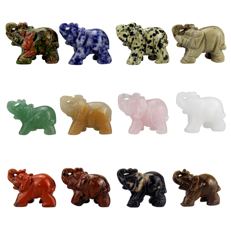 Elephant Statue 12 Pieces Mixed 40mm Carved Gemstone