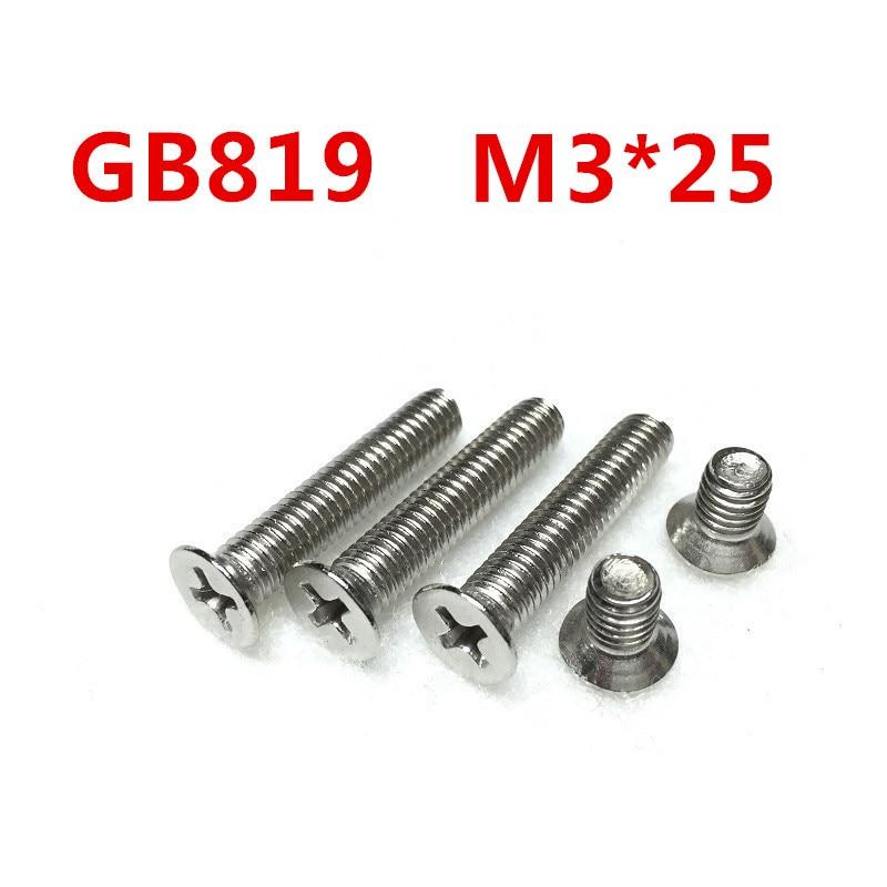 Free Shipping 100pcs/Lot GB819 M3x25 mm M3*25 mm 304 Stainless Steel flat head cross Countersunk head screw 100pcs m3 12 flat head stainless steel