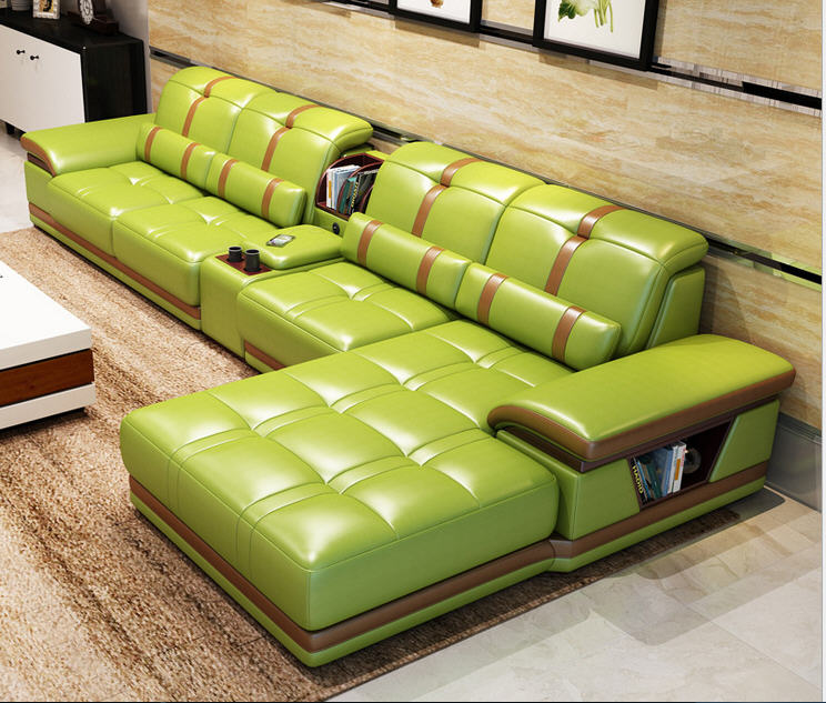 Living Room Sofa Set Furniture Real Genuine Cow Leather Sofas Bluetooth Puff Asiento Muebles De Sala Canape L Shape Sofa Cama