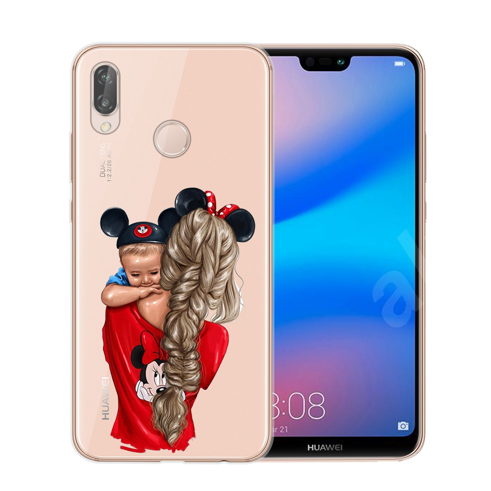 Black Brown Hair Baby Mom Girl Queen Customer Phone Case For Huawei P8 P9 Lite 2017 P10 P20 P30 Lite Pro Vogue Girl Cover