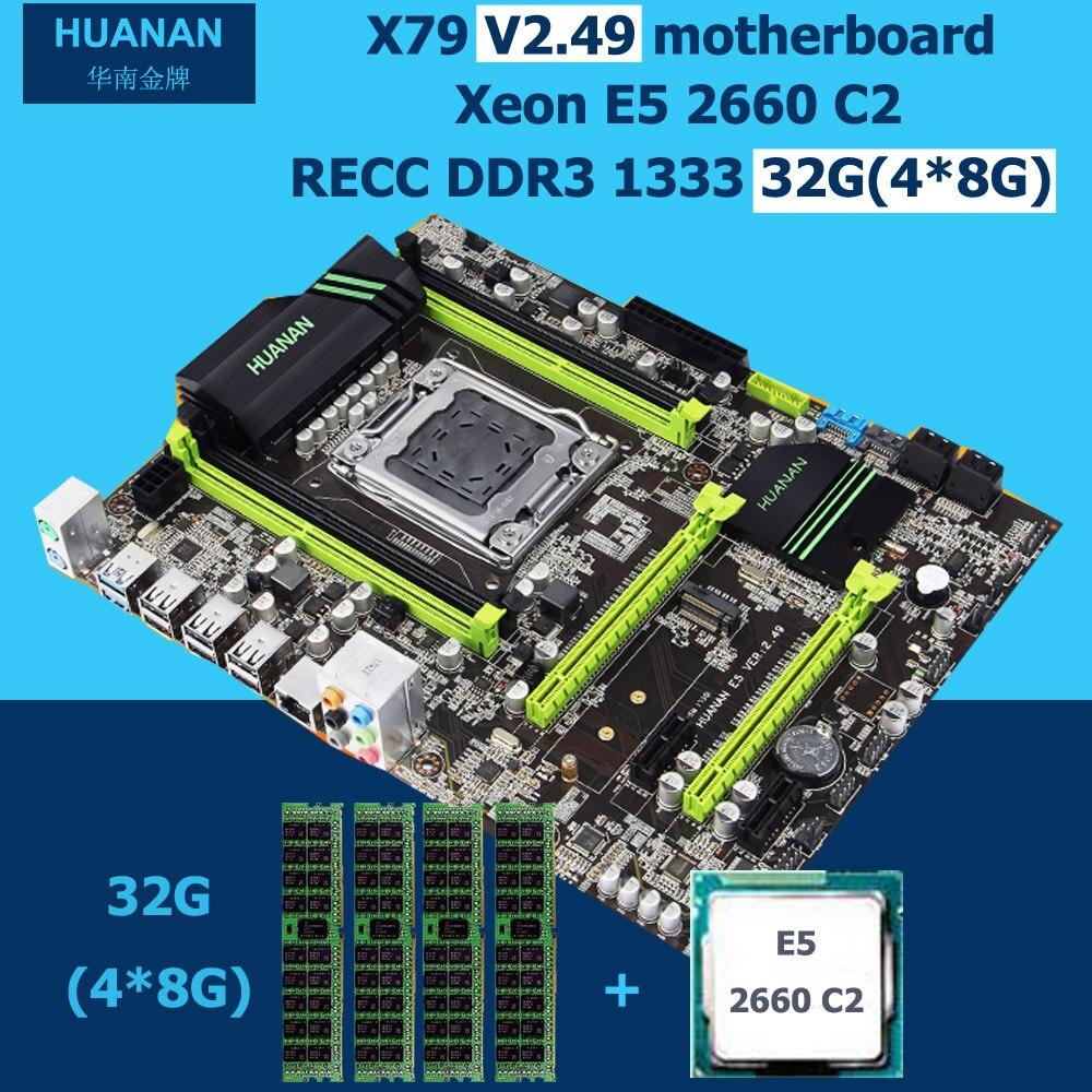 HUANAN X79 motherboard CPU RAM combos V2.49 X79 LGA 2011 motherboard with CPU Xeon E5 2660 C2 RAM 32G(4*8G) DDR3 REG ECC tested new arrival huanan x79 motherboard cpu memory combos x79 lga2011 motherboard cpu intel xeon e5 2670 srokx ram 8g ddr3 reg ecc
