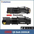 Linternas  Led Flashlight CREE Q5 2000Lumens 3 Modes Zoomable cree LED Torch light For 1xAA or 1x14500 Free shipping