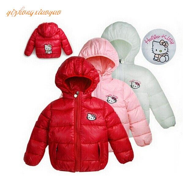 2016 Hello Kitty Jacket Infant Overcoat Winter Children's Down Jacket PrincessGirls Parka Snowsuit Baby Hooded Down Jacket Coat