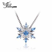 Jewelrypalace copo de nieve suiza topacio azul genuino esterlina del sólido 925 colgante de plata de la joyería fina para las mujeres no incluye la cadena