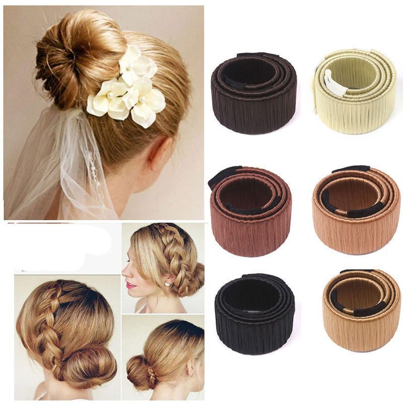 Girls Hair Accessories Fashion DIY Magic Synthetic Wig Donuts Bud Head Band High Quality for Women French Dish Fine HairBands