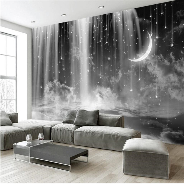 beibehang custom mural wallpaper any size black and white waterfall starry living room bedroom background wall - Bedroom Background