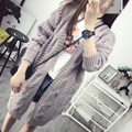 AliExpress new marketing twist long cardigan sweater new fall fashion wild solid color sweater cardigan