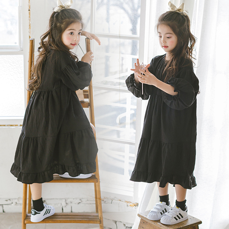New 2018 Girls Spring Cotton Dress Kids Flare Dress Children Comfortable Dress Girls Casual Dress Toddler Clothes,2-14Y,#2259 2018 new baby spring dress brand girls plaid dress fashion children dress toddler cotton dress parent child clothes 2636