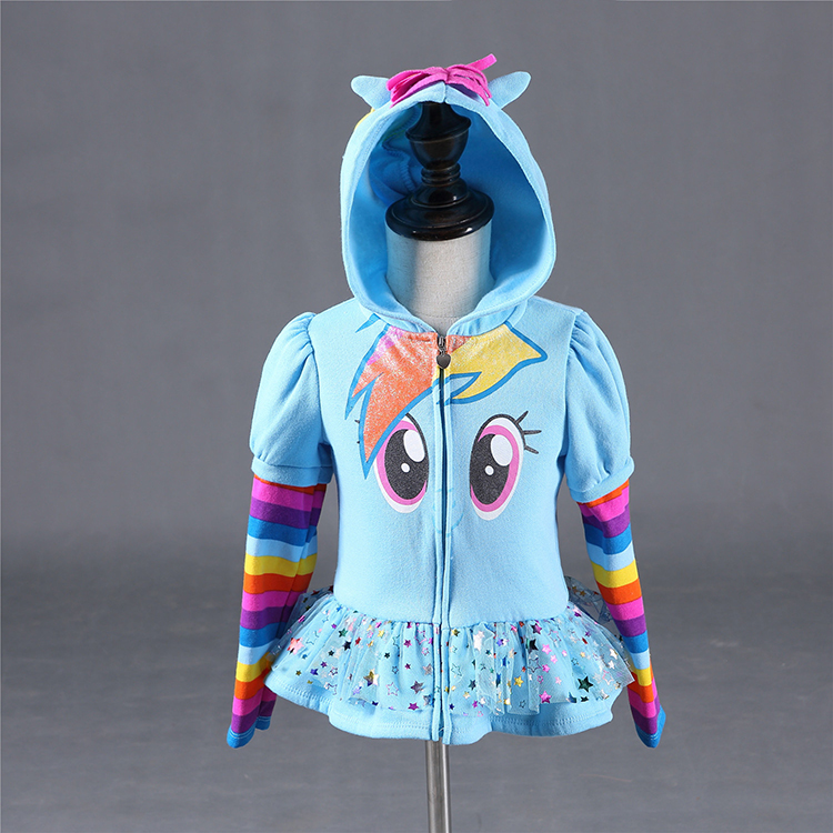 Kids favorite my little pony jacket coat hoodies cosplay costume baby girls Rainbow Dash cartoon hoody children baby sweatshirt