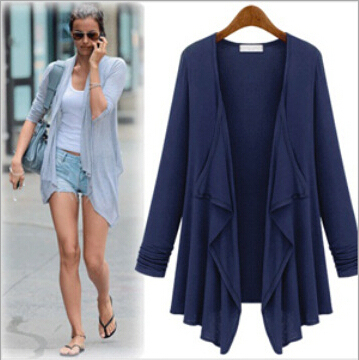 New 2016 summer women blouses fashion tops leisure wild style cotton long-sleeve cardigan shirt plus size