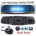 Retrovisor do carro com câmera traseira de estacionamento gravador de vídeo registrator lente dupla espelho auto carros DVR dvr traço cam HD 4.3 polegada quente