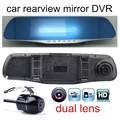 car with rear camera rearview parking video recorder registrator dual lens mirror auto DVR cars dvr dash cam HD 4.3 inch hot