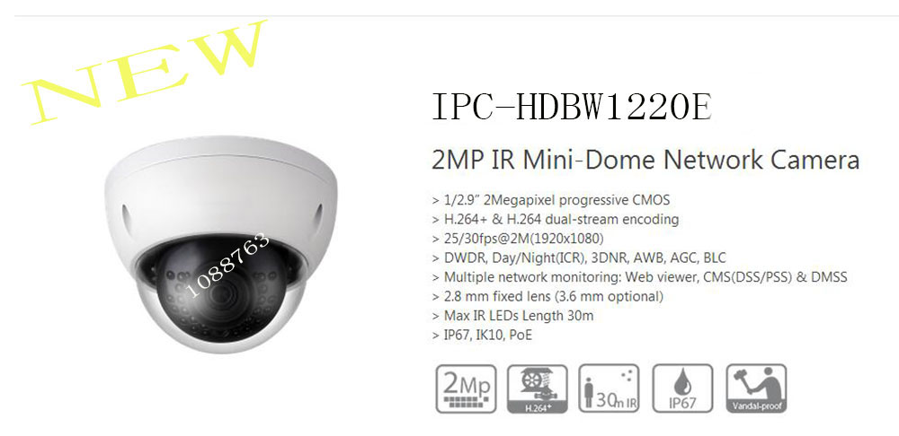 Free Shipping DAHUA Security IP Camera 2MP IR Mini-Dome Network Camera IP67 IK10 PoE without Logo IPC-HDBW1220E free shipping dahua 2mp ir mini dome network camera ip67 with poe without logo ipc d2b20