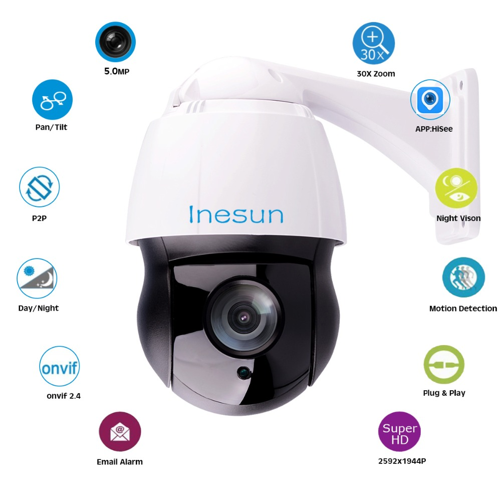 82f411cdede Inesun 5MP Super HD 2592x1944 Outdoor PTZ IP Camera Pan Tilt 30x Optical  Zoom High Speed Dome Camera 400ft Laser IR Night Vision-in Surveillance  Cameras ...