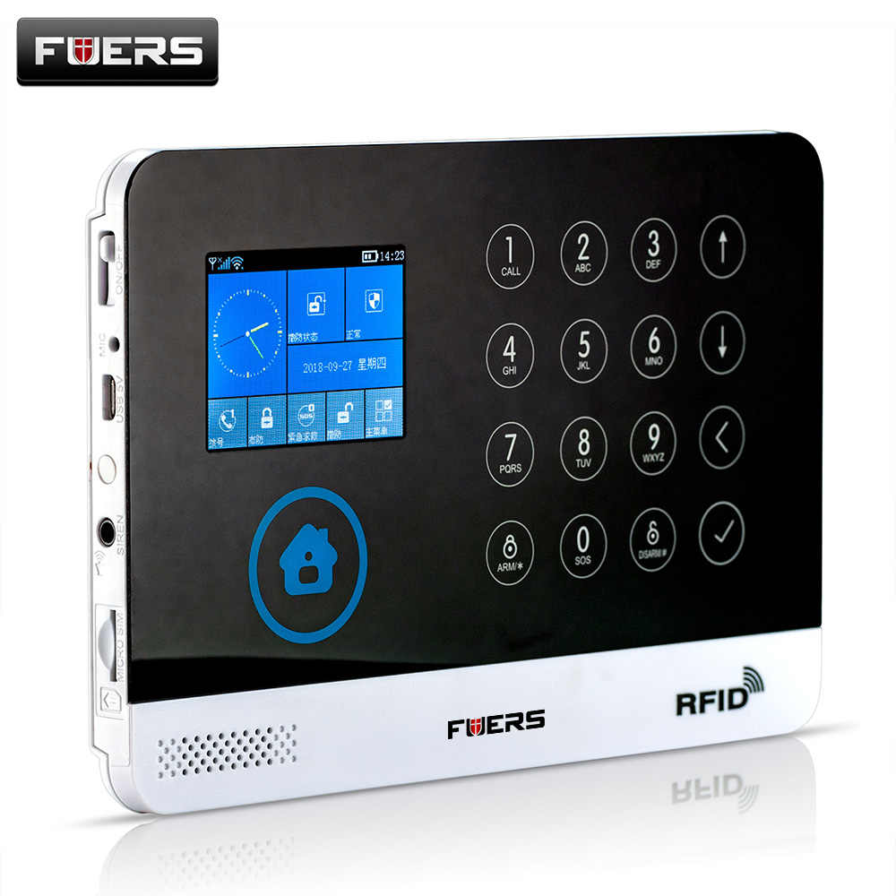 FUERS Wireless Home Security GSM WIFI Alarm System Android IOS APP 9  Languages Supported Screen Touch Keyboard Smart System