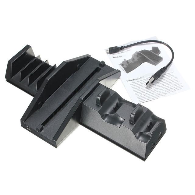 Muelle de múltiples funciones fresco de enfriamiento del ventilador soporte de controlador usb estación de muelle del cargador del sostenedor del soporte para playstation 4 ps4 consola