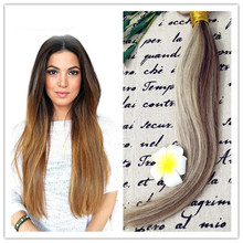 Full Shine 2016 7A New Fashion Brazilian Human Hair Sew in Weave  #8#613 Balayage Color Straight Hair Bundles Cabelo Humano