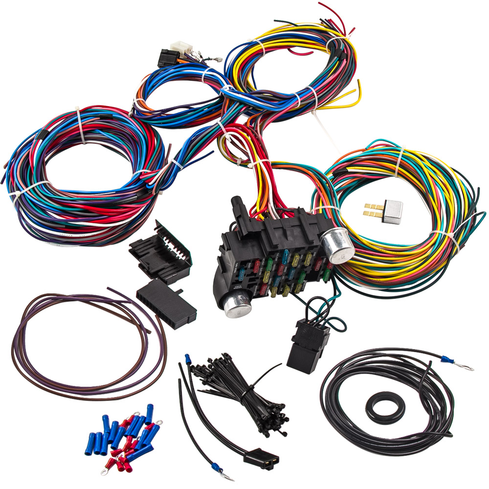 21 Circuit Wiring Harness for CHEVY Mopar for Ford Hot rod UNIVERSAL on chevy warning sticker, chevy alternator harness, chevy wiring horn, chevy clutch assembly, chevy 1500 wireing harness color codes, chevy rear diff, chevy battery terminal, chevy front fender, chevy speaker wiring, chevy radiator cap, chevy wheel cylinders, chevy fan motor, chevy wiring schematics, chevy relay switch, chevy speaker harness, chevy crossmember, chevy power socket, chevy wiring connectors, chevy clutch line, chevy abs unit,