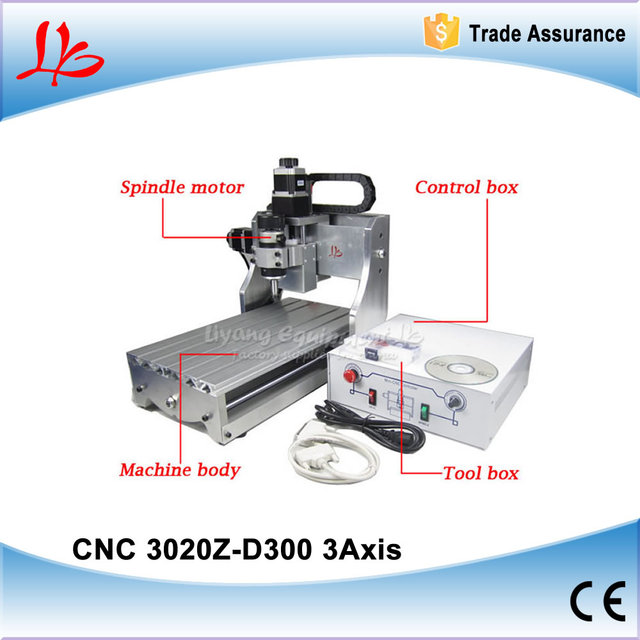 Low cost CNC machine 3020 Z-D300, woodworking machine with free engraving clamps , 110/220V